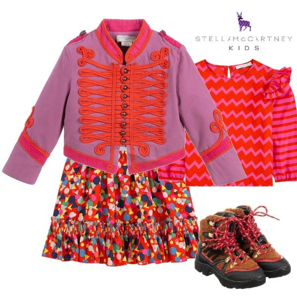 Stella McCartney Kids Purple & Red Military Jacket Dots Tencel Skirt