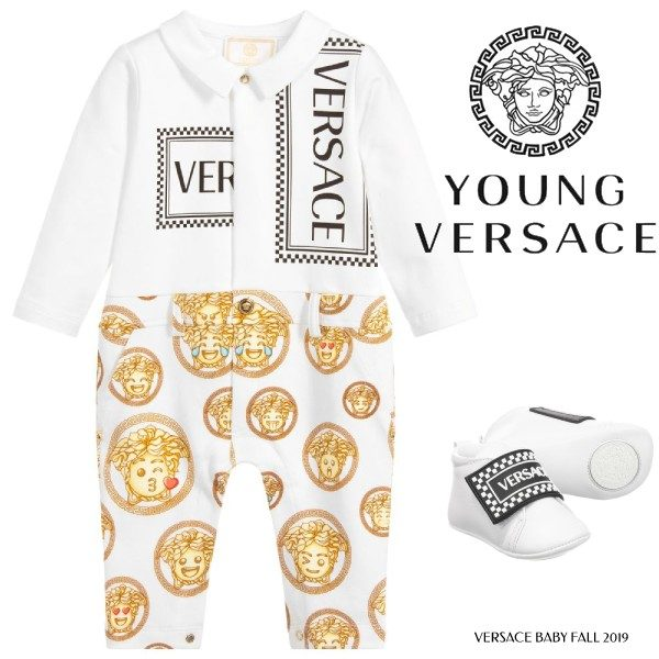 Young Versace Baby Boy White & Gold Medusa Baby Suit