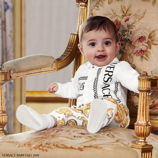 Young Versace Baby White & Gold Medusa Logo Baby Suit