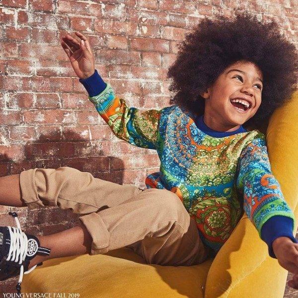 Young Versace Multi Color Baroque Print Sweatshirt