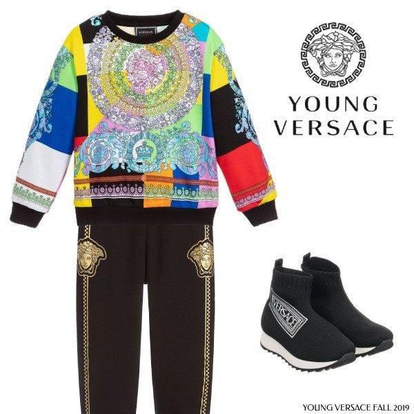 Young Versace Multi Color Baroque Print Sweatshirt Black Medusa Joggers