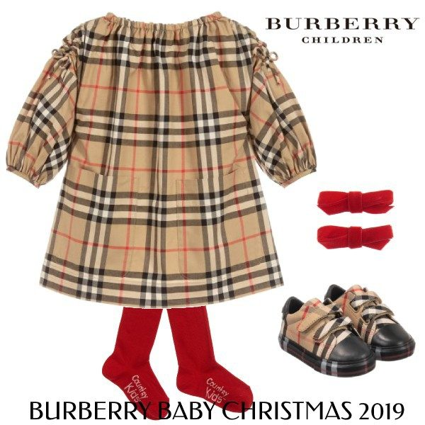 Burberry Baby Girls Beige Red Check Dress Christmas Outfit 2019