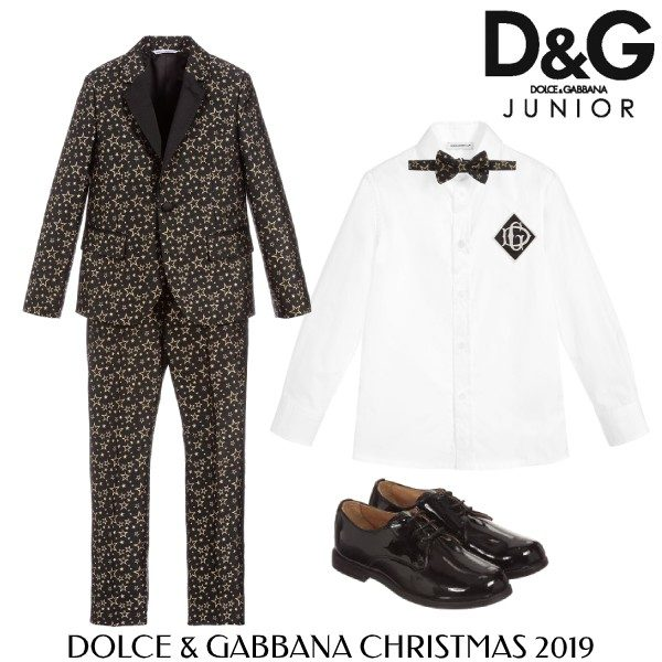 Dolce and Gabbana Boys Black Gold Star Special Occasion Suit Outfit