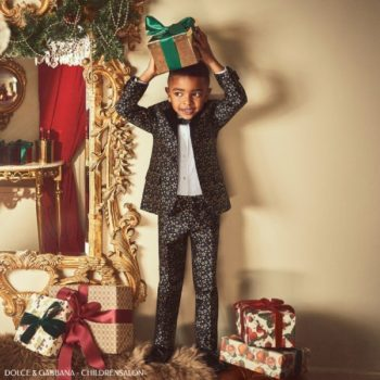 Dolce Gabbana Boys Holiday Black Gold Star Special Occasion Suit