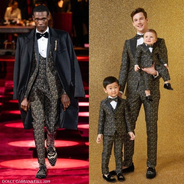 Dolce Gabbana Boys Mini Me Black Gold Star Suit from Milan Fashion Week