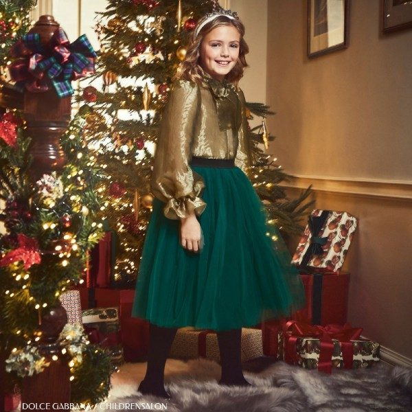Dolce Gabbana Girls Holiday Gold Organza Bow Blouse Green Tulle Skirt