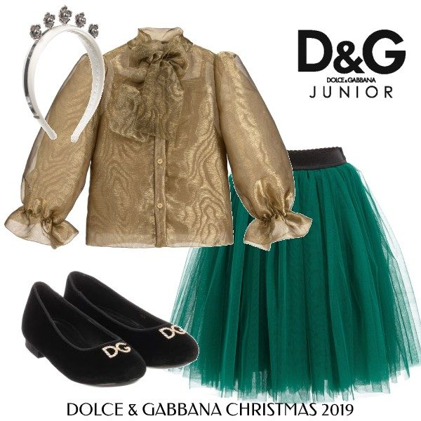 Dolce and Gabbana Girls Holiday Outfit Gold Organza Bow Blouse Green Tulle Skirt Black Shoes