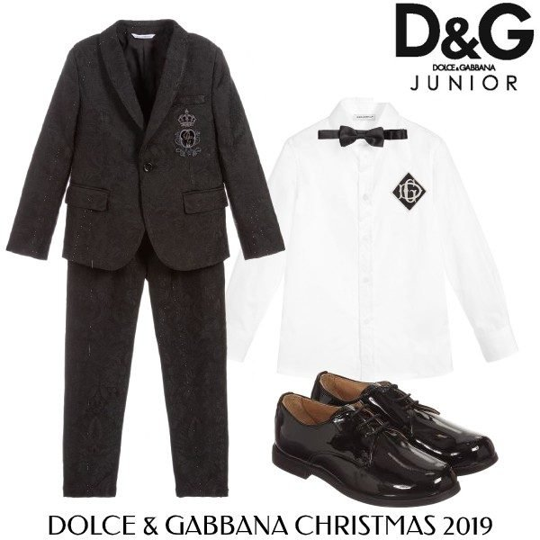 Dolce and Gabbana Boys Black Jaquard Special Occasion Suit Bowtie
