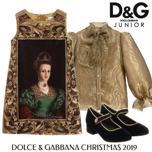 Dolce and Gabbana Girls Baroque Black Gold Velvet Holiday Dress