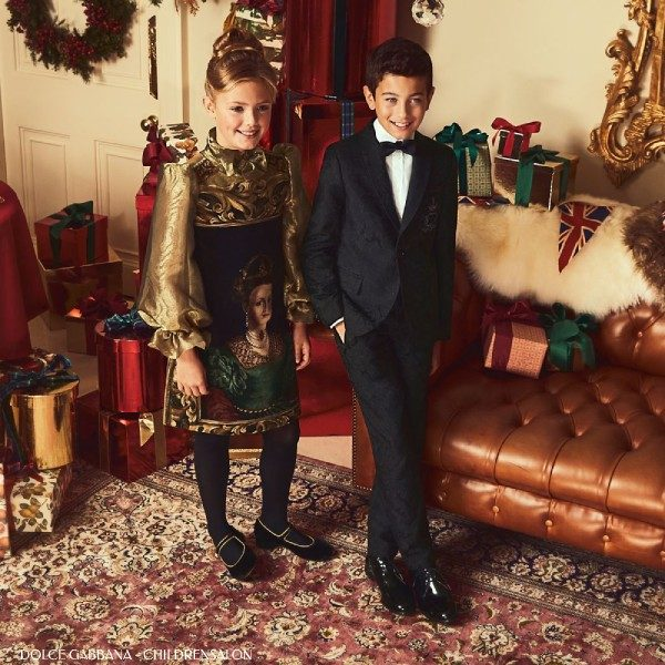 Dolce and Gabbana Girls Baroque Gold Holiday Dress Boys Black Suit
