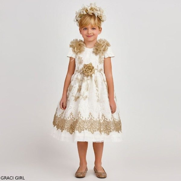 Graci Girl Ivory Gold Flower Feather Tulle Party Dress
