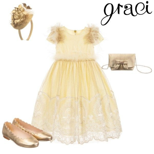 Graci Little Girls Gold Tulle Lace Feather Party Dress Headband Shoes Outfit