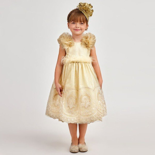 GRACI GIRLS GOLD TULLE LACE FEATHER PARTY DRESS