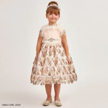 Graci Girls Pink Feather Sequinned Party Dress