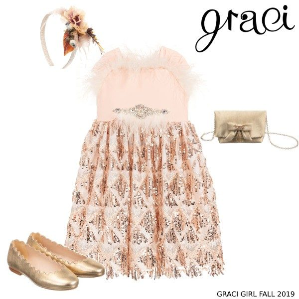 Graci Girls Pink Feather Sequinned Party Dress Floral Boy Headband and Gold Shoes