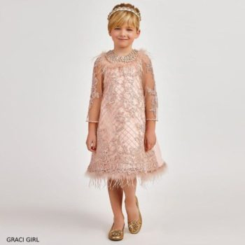 Graci Girls Pink Sequin Feather Embroidered Party Dress