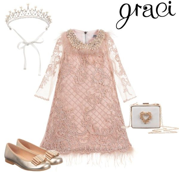 Graci Little Girls Pink Sequin Feather Embroidered Special Occasion Dress Outfit