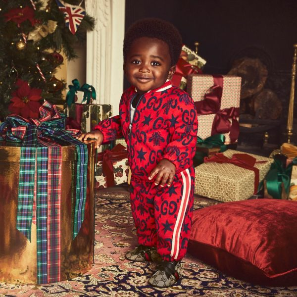 Gucci Baby Boy Holiday Red & Blue GG & Bee Pattern Tracksuit