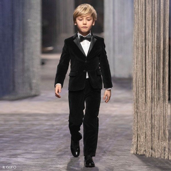 Il Gufo Boys Black Velvet Holiday Suit