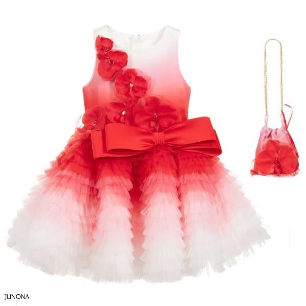 JUNONA Girl Red Tulle Special Occasion Dress Bag Outfit