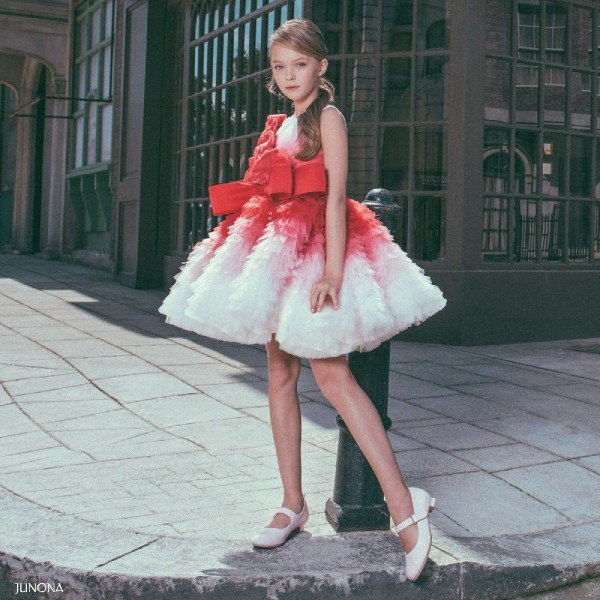 JUNONA Girls Red Tulle Special Occasion Dress