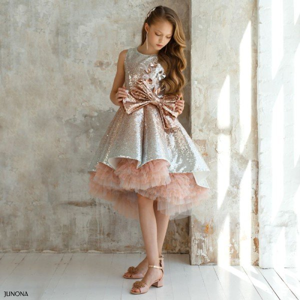 Junona Girl Silver Pink Sequin Special Occasion Dress