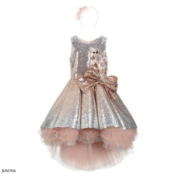 Junona Silver Pink Sequin Special Occasion Dress Outfit
