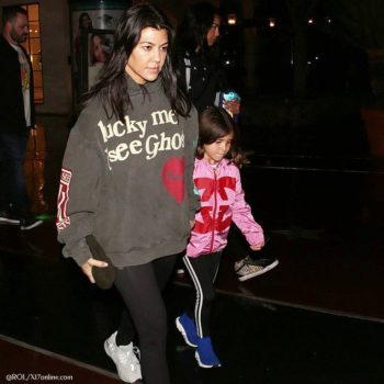 Kourtney Kardashian Penelope Disick Gucci Girls Pink GG Logo Jacket Movies in LA