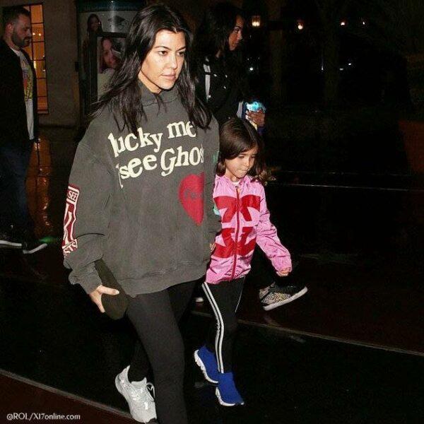 Kourtney Kardashian Penelope Disick Gucci Girls Pink GG Logo Jacket Movies in LA