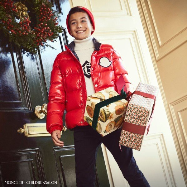 Moncler Enfant Red Down Jacket Dolce Gabbana Ivory Logo Sweater Outfit