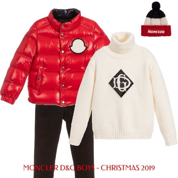Moncler Enfant Red Down Jacket Dolce Gabbana Ivory Logo Sweater