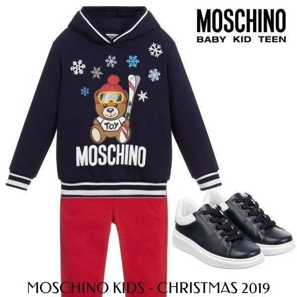 Moschino Boys Blue Teddy Ski Sweashirt Holiday 2019