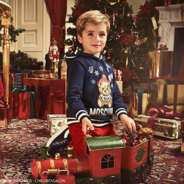 Moschino Kids Boy Navy Blue Snow Ski Teddy Bear Sweatshirt