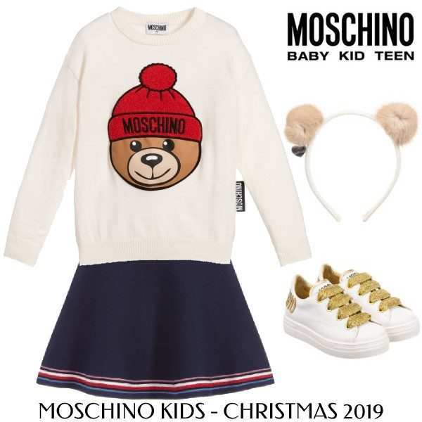 Moschino Kids Girls Holiday Ivory Knitted Teddy Knit Hat Sweater Tommy Hilfiger Navy Skirt
