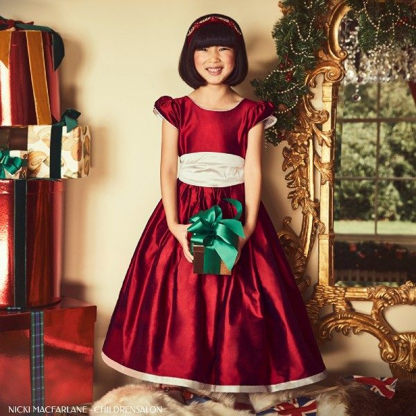 Nicki Macfarlane Girls Christmas Red Silver Silk Penelope Ballerina Length Dress