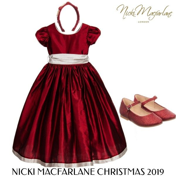 Nicki Macfarlane Girls Holiday Red Silver Silk Penelope Ballerina Length Dress Outfit