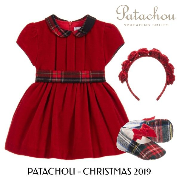Patachou Baby Girl Holiday Red Velvet Dress Outfit