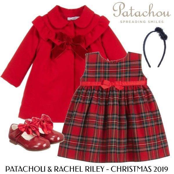 Patachou Baby Girls Red Ruffle Winter Coat Rachel Riley Red Green Tartan Dress