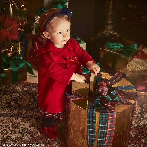Patachou Baby Girls Red Ruffle Winter Holiday Coat