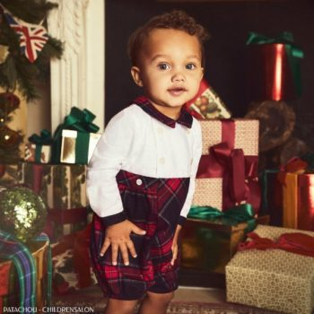 Patachou Baby Holiday White & Red Check Shortie
