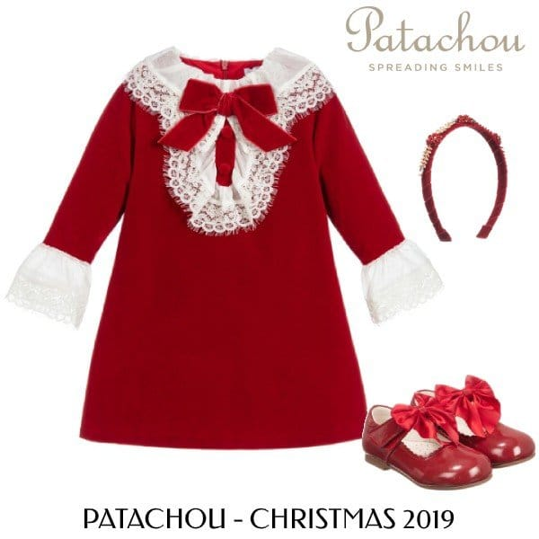 Patachou Girls Red Velvet Lace Holiday Dress Outfit