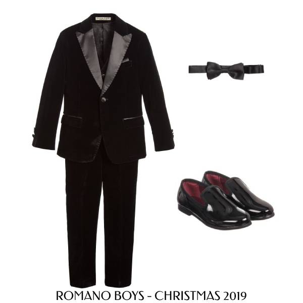 Romano Boys Black Velvet Special Occasion Suit