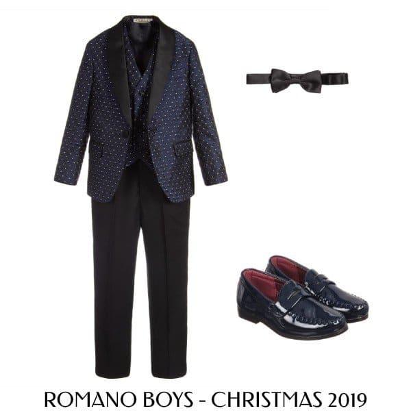 Romano Boys Blue Polkadot 3 Piece Satin Special Occasion Suit