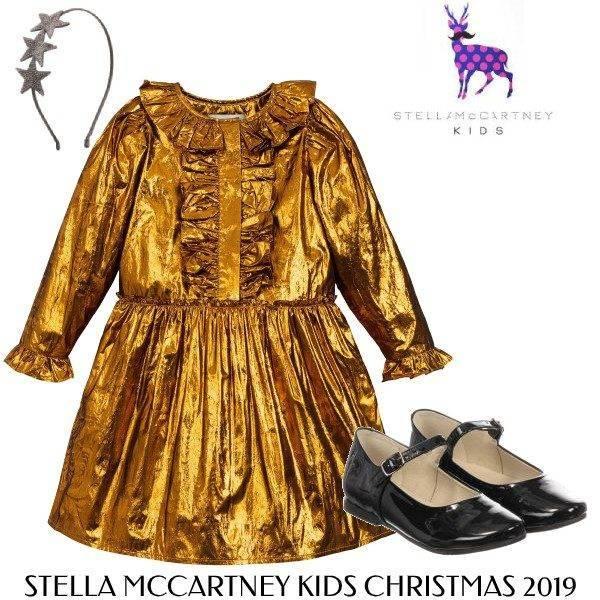 Stella McCartney Kids Girls Christmas Metallic Gold Silk Dress Outfit