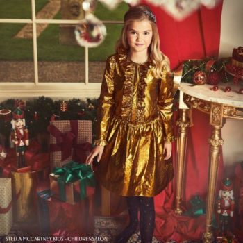 Stella McCartney Kids Girls Holiday Metallic Gold Silk Dress
