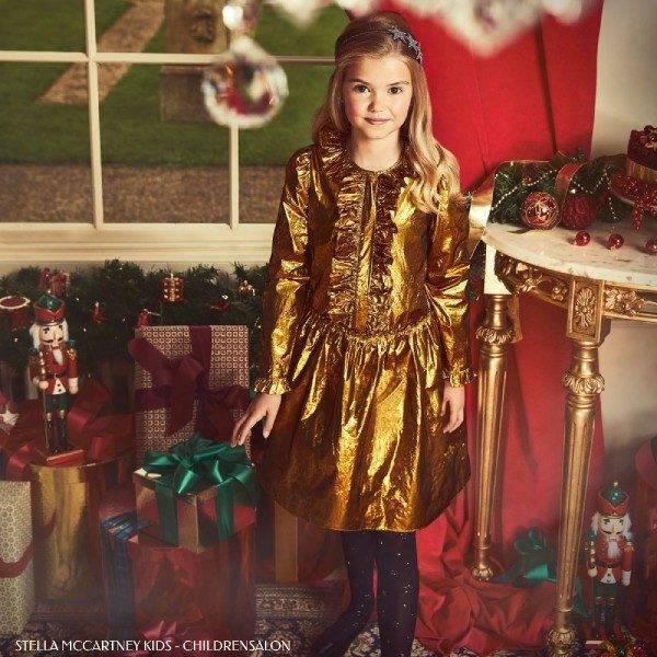 Stella McCartney Kids Girls Holiday Metallic Gold Silk Dress