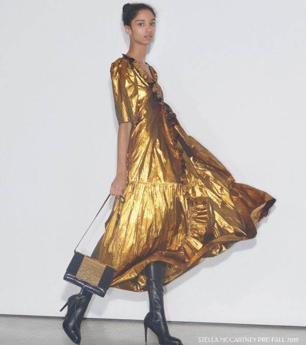 Stella McCartney Womens Gold Silk Dress Pre Fall 2019