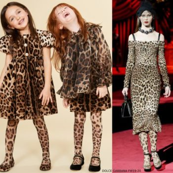 DOLCE Gabbana Leopard Print Velvet Mini Me Runway Dress