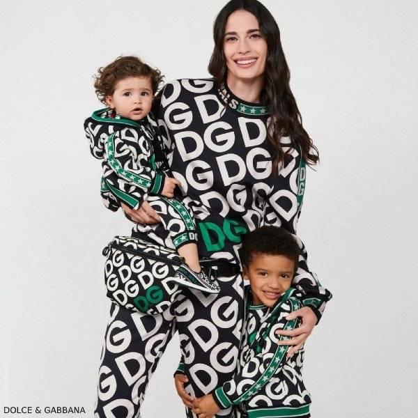 Dolce Gabbana Boy Mini Me Black Green DG Logo Zip Up Sweatshirt