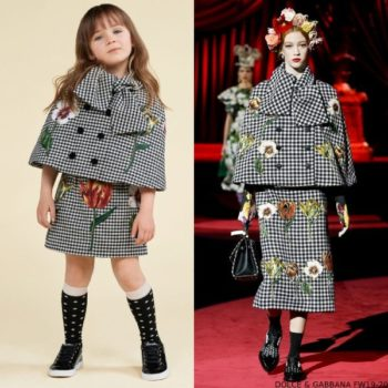 Dolce & Gabbana Girl Black & Ivory Floral Wool Cape Skirt